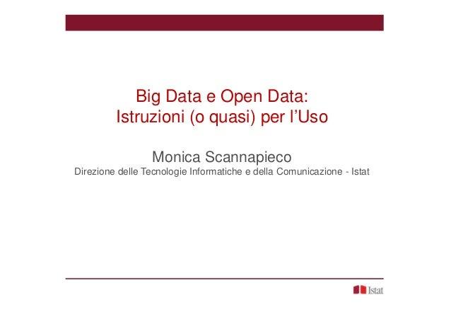 Big Data e Open Data: Istruzioni (o quasi) per l'Uso Monica Scannapieco Direzione delle Tecnologie Informatiche e della Co...