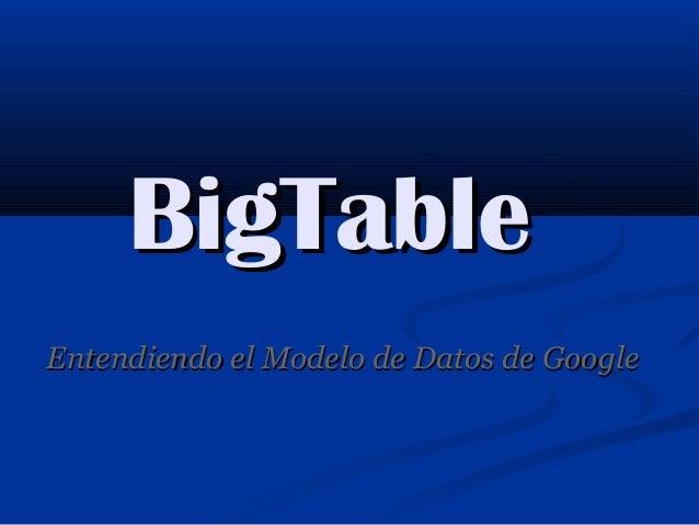 BigTableBigTableEntendiendo el Modelo de Datos de GoogleEntendiendo el Modelo de Datos de Google
