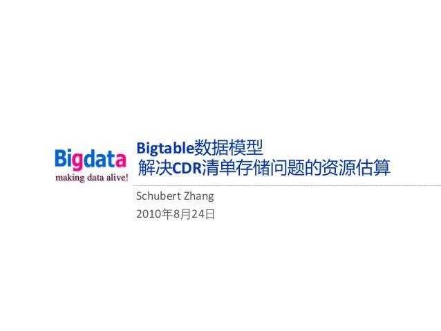 making data alive! Bigtable数据模型 解决CDR清单存储问题的资源估算 Schubert Zhang 2010年8月24日