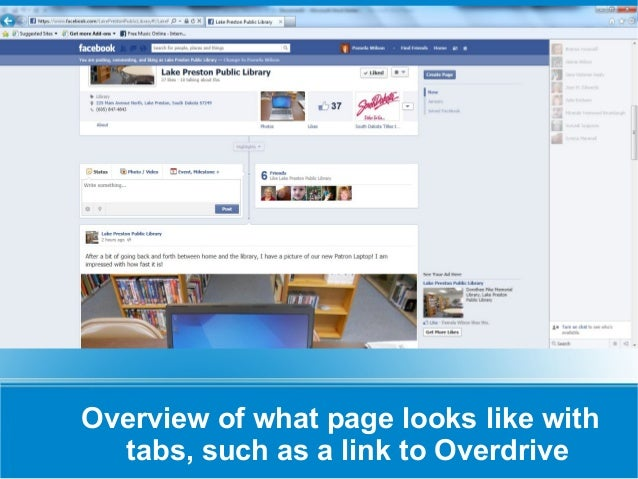 Overview of what page looks like with  tabs, such as a link to Overdrive