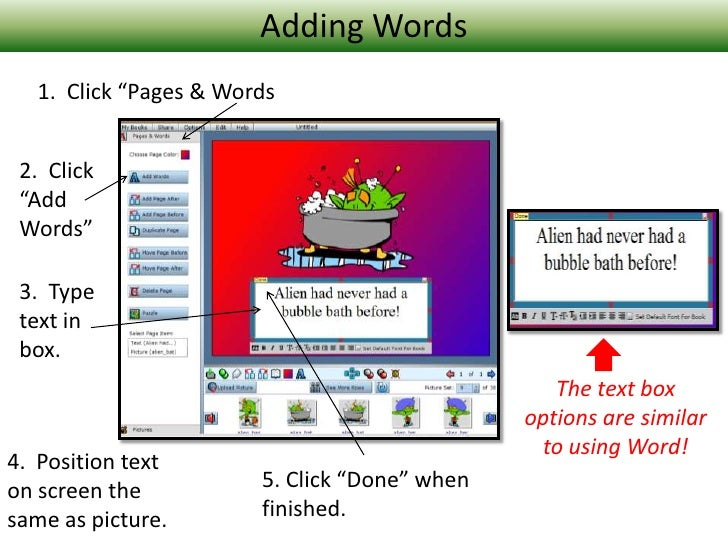 """Adding Words<br />1.  Click """"Pages & Words<br />2.  Click  """"Add Words""""<br />3.  Type text in box.<br />The text box option..."""