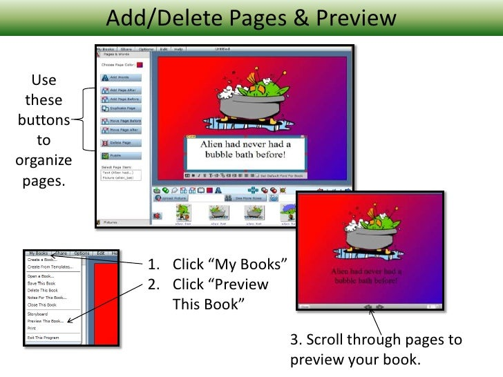 """Add/Delete Pages & Preview<br />Use these buttons to organize pages.<br />Click """"My Books""""<br />Click """"Preview This Book""""<..."""