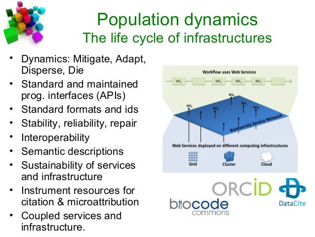 Population dynamics The life cycle of infrastructures • Dynamics: Mitigate, Adapt, Disperse, Die • Standard and maintained...