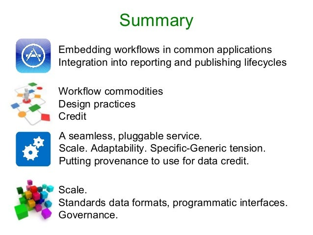 Summary Scale. Standards data formats, programmatic interfaces. Governance. Workflow commodities Design practices Credit A...