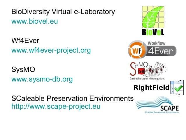 BioDiversity Virtual e-Laboratory www.biovel.eu Wf4Ever www.wf4ever-project.org SysMO www.sysmo-db.org SCaleable Preservat...