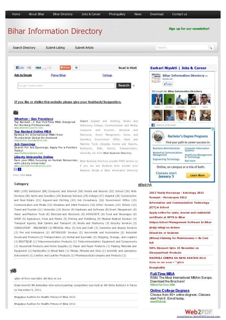 Home            About Bihar          Bihar Directory         Jobs & Career        Photogallery        News          Downlo...