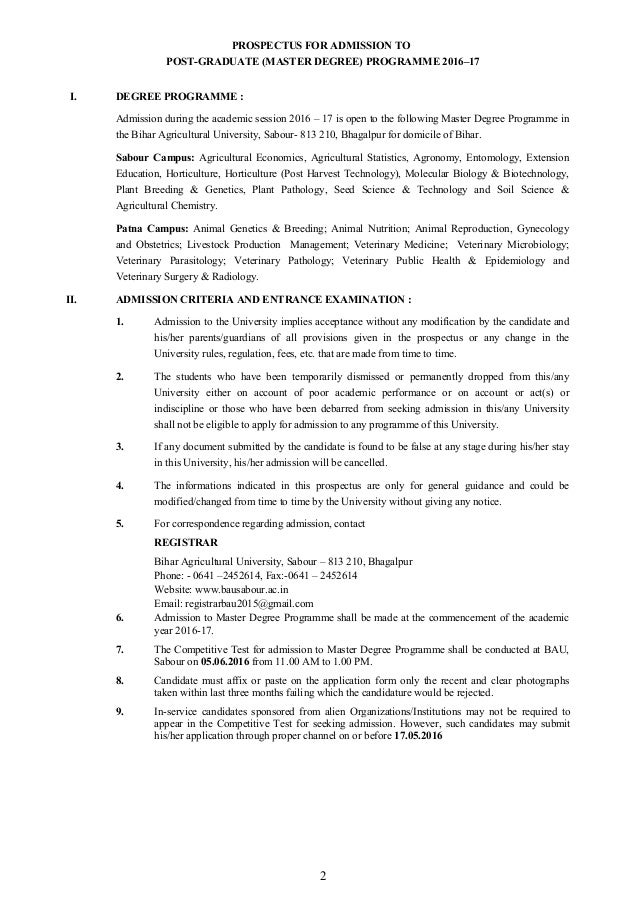 Bihar agricultural university prospectus 2016 17 educationiconnect.…