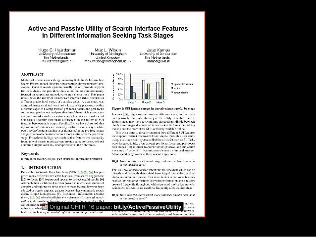 The Multi-Stage Experience: the Simulated Work Task Approach to Studying Information Seeking Stages Slide 2