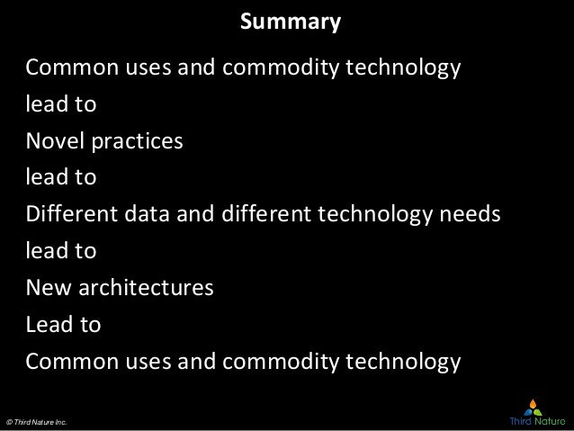 © Third Nature Inc. Summary Common uses and commodity technology lead to Novel practices lead to Different data and differ...