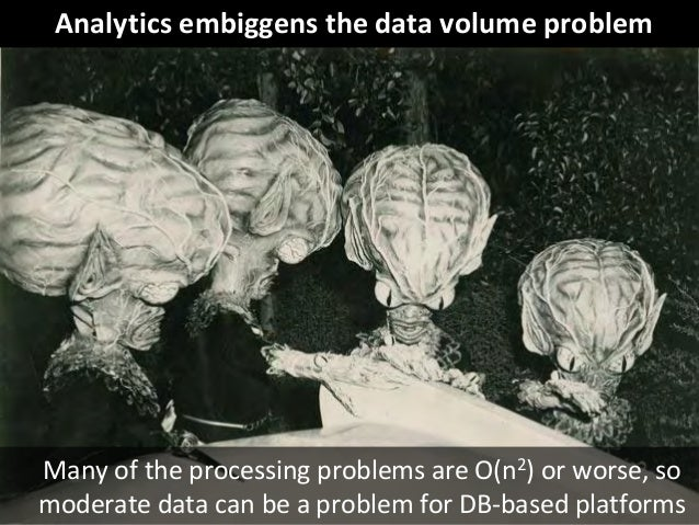 © Third Nature Inc. Analytics embiggens the data volume problem Many of the processing problems are O(n2) or worse, so mod...