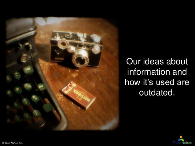 © Third Nature Inc. Our ideas about information and how it's used are outdated.