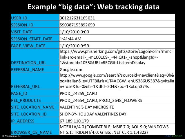 "© Third Nature Inc. Example ""big data"": Web tracking data USER_ID 301212631165031 SESSION_ID 590387153892659 VISIT_DATE 1/..."