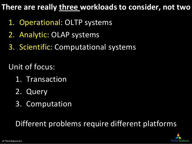 © Third Nature Inc. There are really three workloads to consider, not two 1. Operational: OLTP systems 2. Analytic: OLAP s...