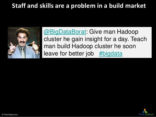 © Third Nature Inc. Staff and skills are a problem in a build market @BigDataBorat: Give man Hadoop cluster he gain insigh...