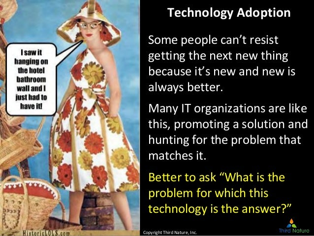 © Third Nature Inc. Technology Adoption Some people can't resist getting the next new thing because it's new and new is al...