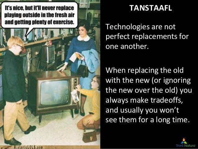 © Third Nature Inc. TANSTAAFL Technologies are not perfect replacements for one another. When replacing the old with the n...