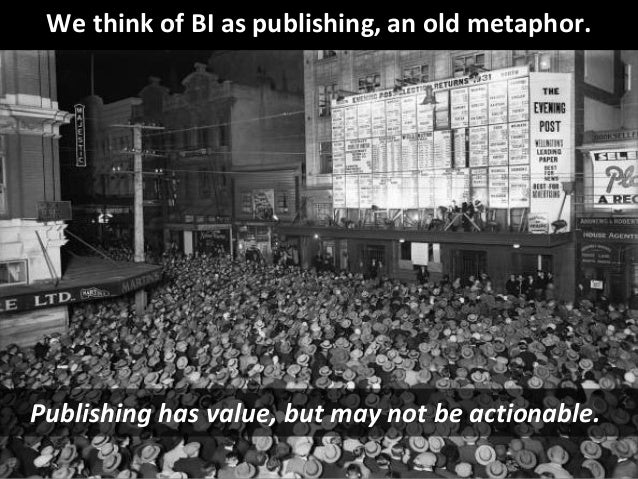 © Third Nature Inc. We think of BI as publishing, an old metaphor. Publishing has value, but may not be actionable.