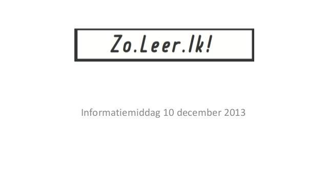 Informatiemiddag 10 december 2013