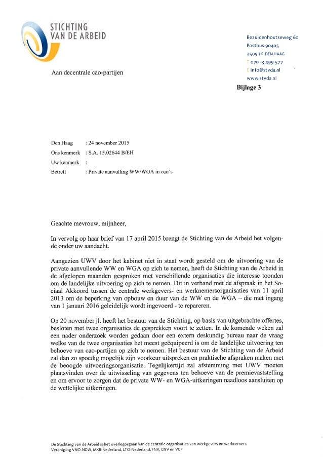 voorbeeldbrief bijlage Bijlage 3 bij afronding Sociaal Akkoord brief aan dec cao partijen 24… voorbeeldbrief bijlage