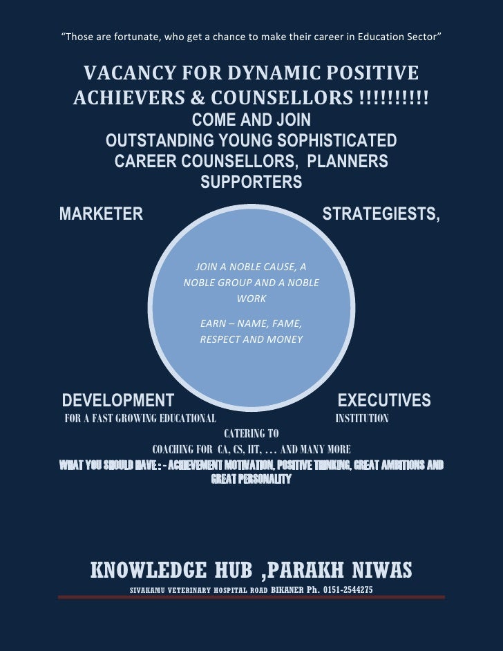 """""""Those are fortunate, who get a chance to make their career in Education Sector""""    VACANCY FOR DYNAMIC POSITIVE   ACHIEVE..."""