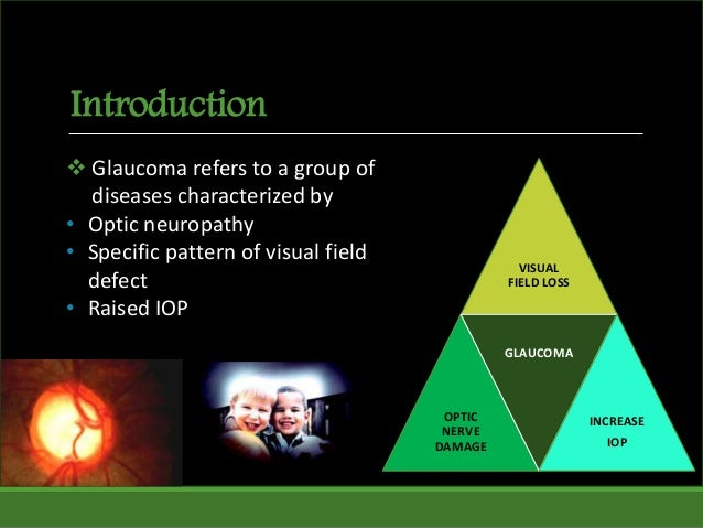 Introduction VISUAL FIELD LOSS OPTIC NERVE DAMAGE GLAUCOMA INCREASE IOP  Glaucoma refers to a group of diseases character...