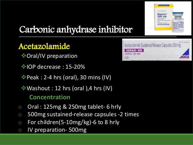 Carbonic anhydrase inhibitor Oral/IV preparation IOP decrease : 15-20% Peak : 2-4 hrs (oral), 30 mins (IV) Washout : 1...