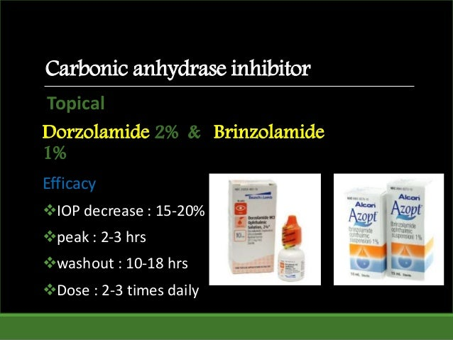 Topical Dorzolamide 2% & Brinzolamide 1% Efficacy IOP decrease : 15-20% peak : 2-3 hrs washout : 10-18 hrs Dose : 2-3 ...