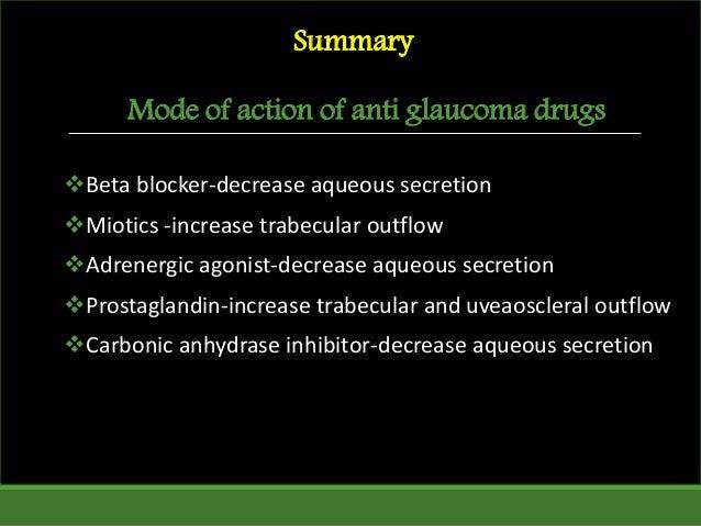 Mode of action of anti glaucoma drugs Beta blocker-decrease aqueous secretion Miotics -increase trabecular outflow Adre...