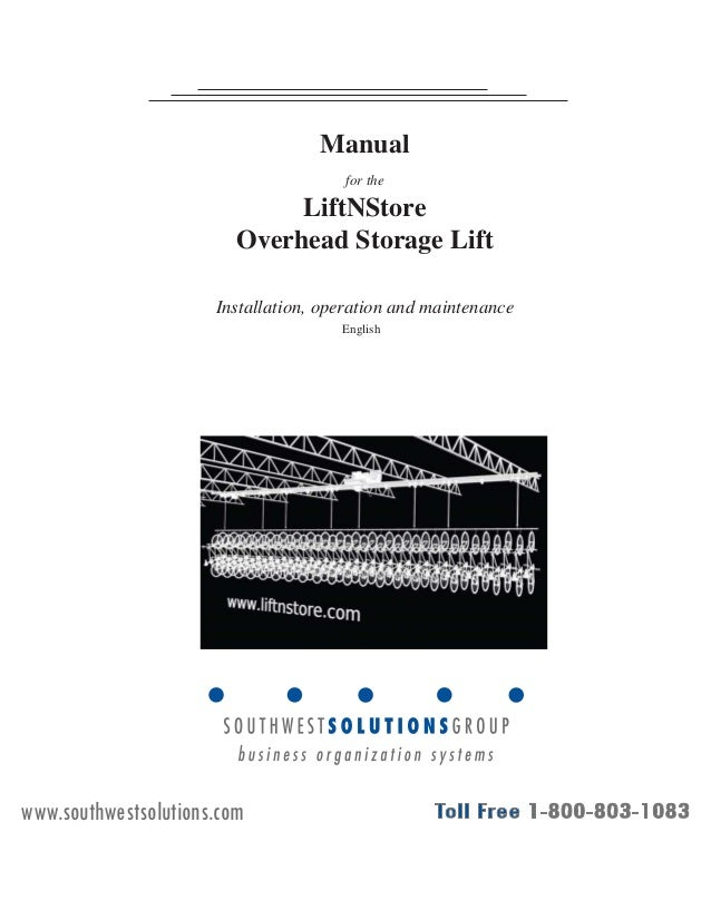 Bike Lifts Overhead Storage Lift Installation Manual
