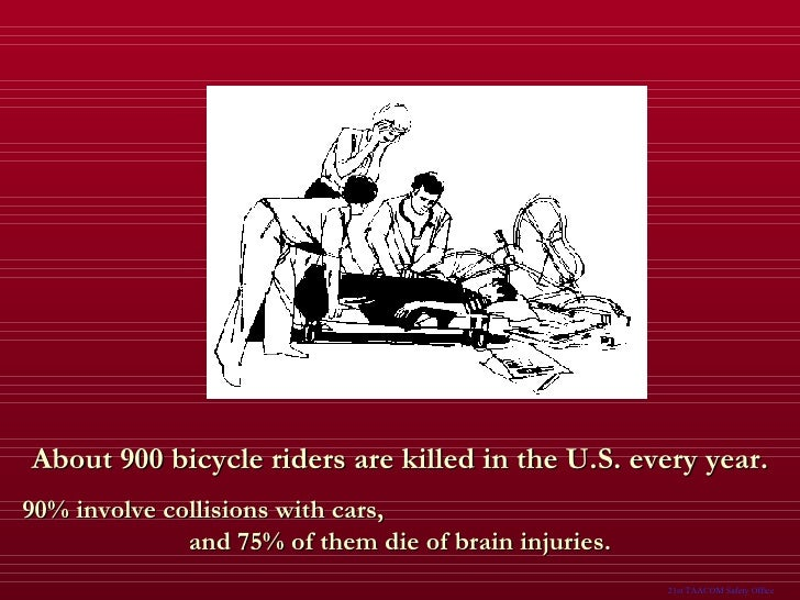 About 900 bicycle riders are killed in the U.S. every year. 90% involve collisions with cars,  and 75% of them die of brai...