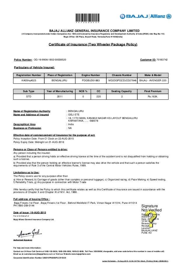 Bajaj Car Insurance Renewal