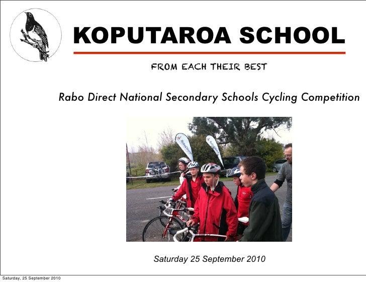 KOPUTAROA SCHOOL                                           FROM EACH THEIR BEST                            Rabo Direct Nat...