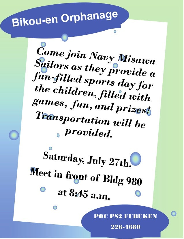 Bikou-en Orphanage POC PS2 FURUKEN 226-4680 Come join Navy MisawaSailors as they provide afun-filled sports day forthe chi...