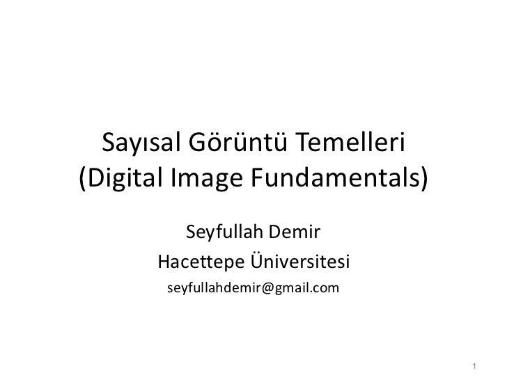 Sayısal Görüntü Temelleri(Digital Image Fundamentals)         Seyfullah Demir      Hacettepe Üniversitesi       seyfullahd...