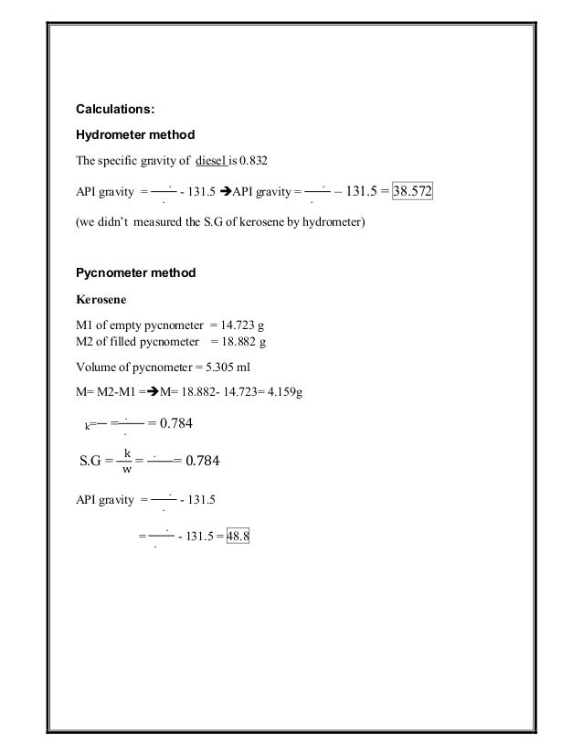Formula to convert specific gravity to api gravity