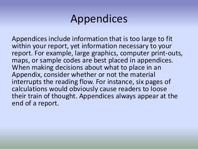 how to write an appendix harvard