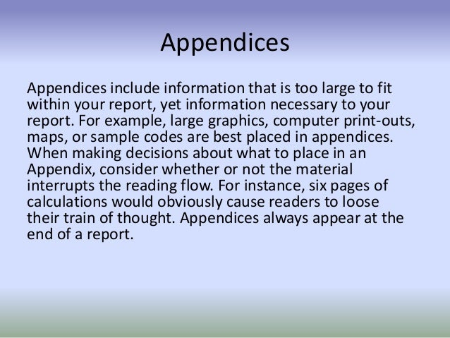 Writing an Appendix