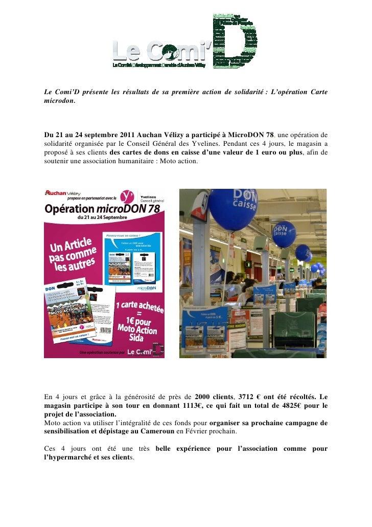 Le Comi'D présente les résultats de sa première action de solidarité : L'opération Cartemicrodon.Du 21 au 24 septembre 201...
