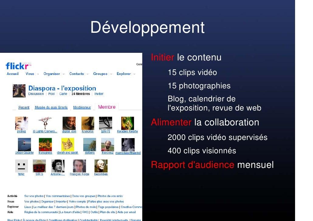 Développement       Initier le contenu           15 clips vidéo           15 photographies           Blog, calendrier de  ...