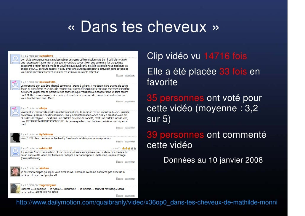 « Dans tes cheveux »                                           Clip vidéo vu 14716 fois                                   ...