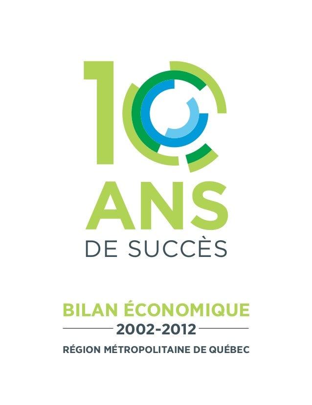 DE succèsBILAN ÉCONOMIQUE2002-2012Région métropolitaine de Québec