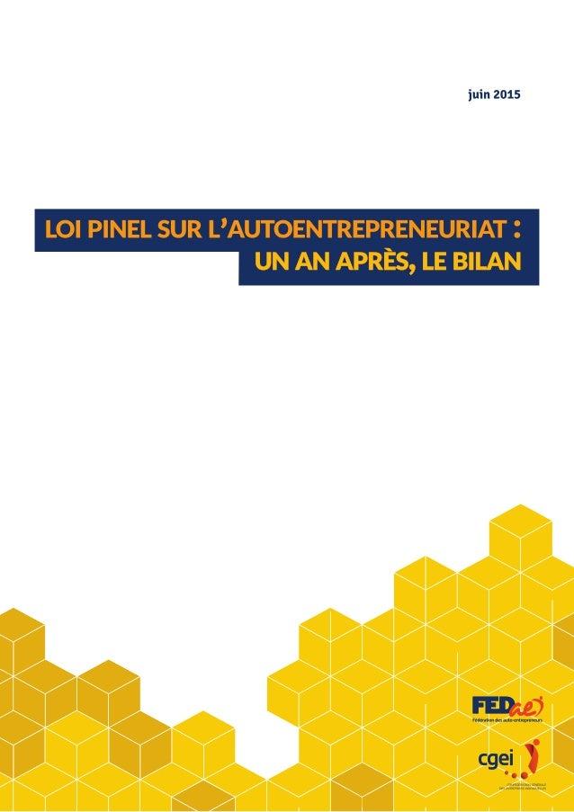 Loi pinel sur l'autoentreprenariat : Un an après, le bilan - 2 FÉDÉRATION DES AUTO-ENTREPRENEURS www.federation-auto-entre...