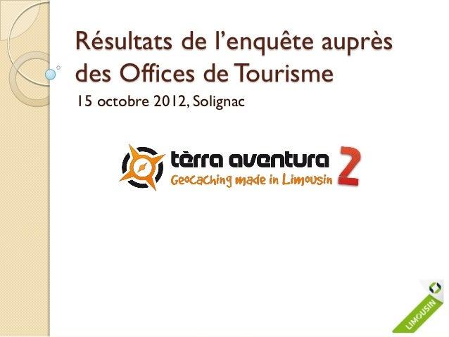Résultats de l'enquête auprèsdes Offices de Tourisme15 octobre 2012, Solignac