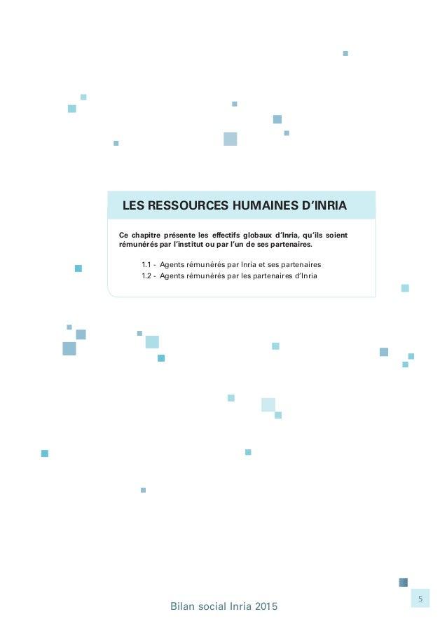 Bilan social Inria 2015 5 LES RESSOURCES HUMAINES D'INRIA Ce chapitre présente les effectifs globaux d'Inria, qu'ils soien...