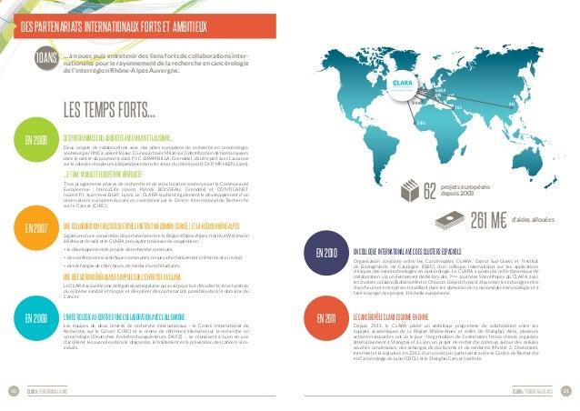 CLARA / panorama 10 ans 21CLARA / panorama 10 ans20 Des partenariats internationaux forts et ambitieux … à nouer, puis ent...