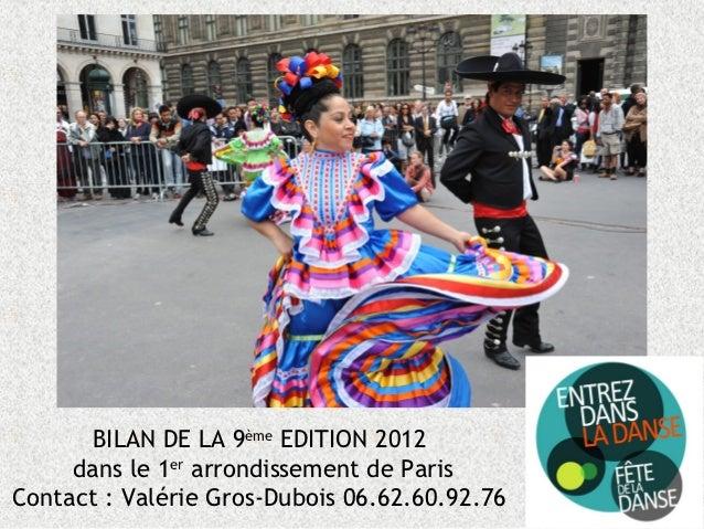 BILAN DE LA 9ème EDITION 2012     dans le 1er arrondissement de ParisContact : Valérie Gros-Dubois 06.62.60.92.76