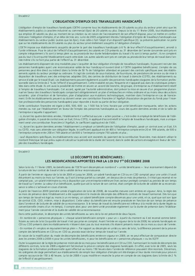 Encadré 2                                                L'OBLIGATION D'EMPLOI DES TRAVAILLEURS HANDICAPÉS    L'obligation...
