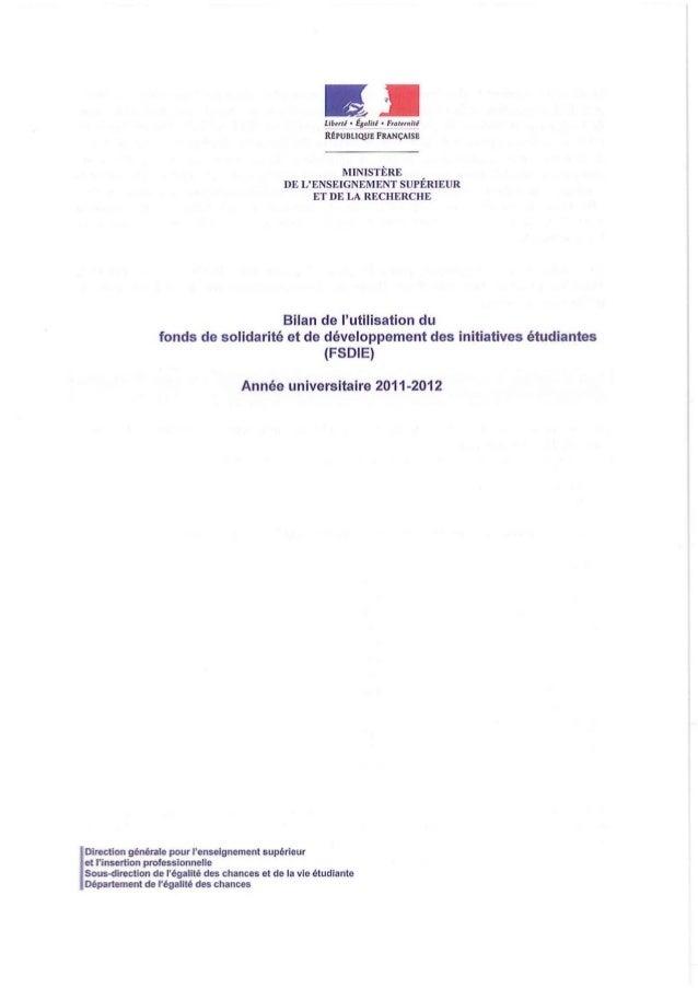 """~b""""tl • l &alitl • FraI""""'!!!!.  RtpUBLlQUE FRANÇAISE  MINISTÈRE DE L'ENSEIGNEMENT SUPÉRIEUR ET DE LA RECH ERC HE  Bilan de..."""