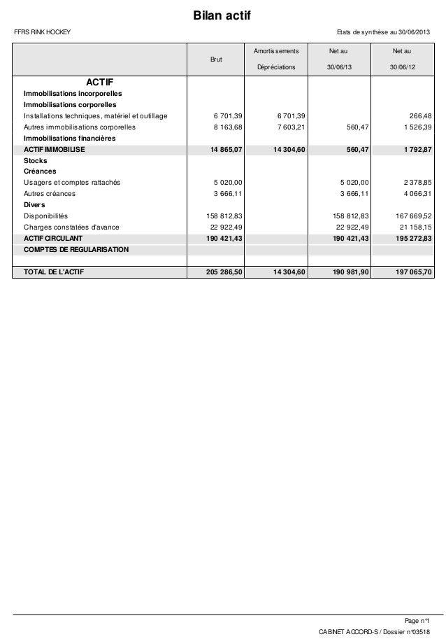 Bilan actif FFRS RINK HOCKEY  Etats de synthèse au 30/06/2013 Amortissements  Net au  Net au  Dépréciations  30/06/13  30/...