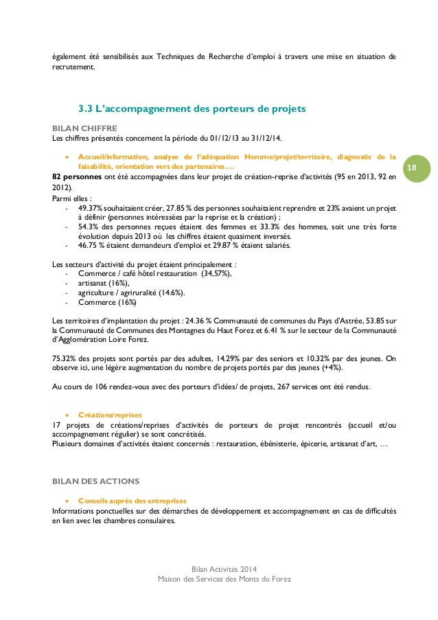 Bilan 2014 Maison Des Services Monts Du Forez